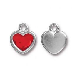 15x13mm Birthstone Heart Drop by TierraCast, Rhodium Plated Light Siam