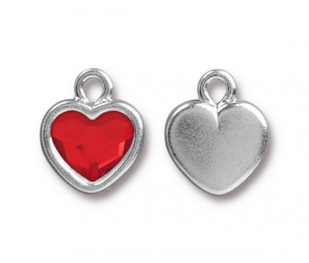 15x13mm Birthstone Heart Drop by TierraCast, Rhodium Plated Light Siam