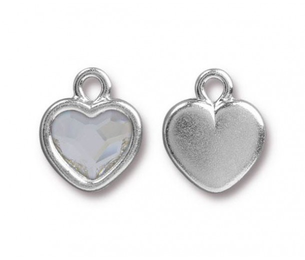 15x13mm Birthstone Heart Drop by TierraCast®, Rhodium Plated Crystal