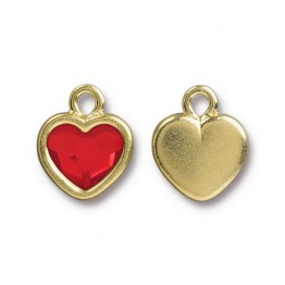 15x13mm Birthstone Heart Drop by TierraCast, Gold Plated Light Siam