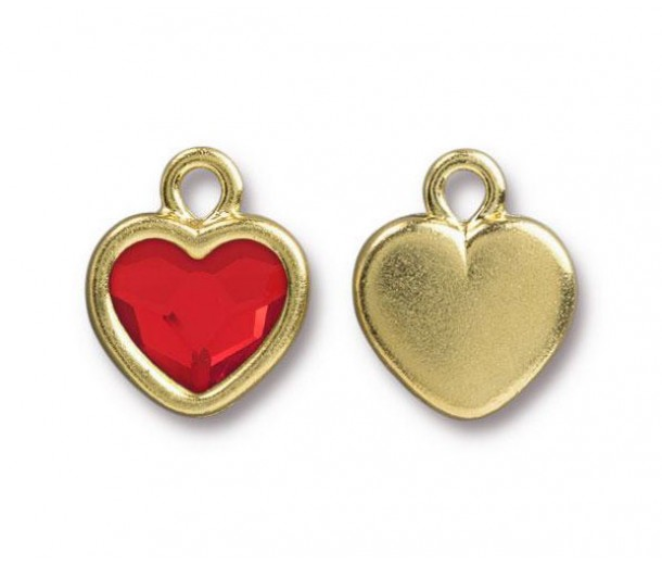 15x13mm Birthstone Heart Drop by TierraCast, Gold Plated Light Siam, 1 Piece