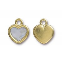 15x13mm Birthstone Heart Drop by TierraCast, Gold Plated Crystal, 1 Piece