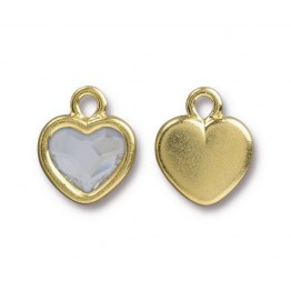15x13mm Birthstone Heart Drop by TierraCast, Gold Plated Crystal