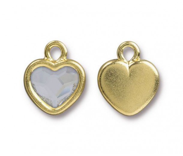 15x13mm Birthstone Heart Drop by TierraCast®, Gold Plated Crystal
