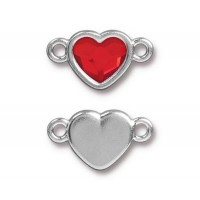 20x11mm Heart Link by TierraCast, Rhodium Plated Light Siam