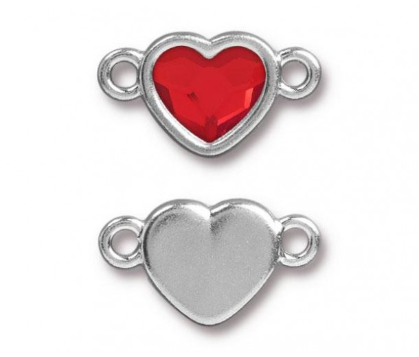 20x11mm Heart Link by Tierracast®, Rhodium Plated Light Siam
