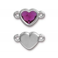 20x11mm Heart Link by TierraCast, Rhodium Plated Fuchsia