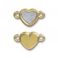 20x11mm Heart Link by TierraCast, Gold Plated Crystal