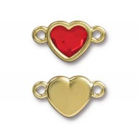 20x11mm Heart Link by TierraCast, Gold Plated Light Siam