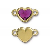 20x11mm Heart Link by TierraCast, Gold Plated Fuchsia
