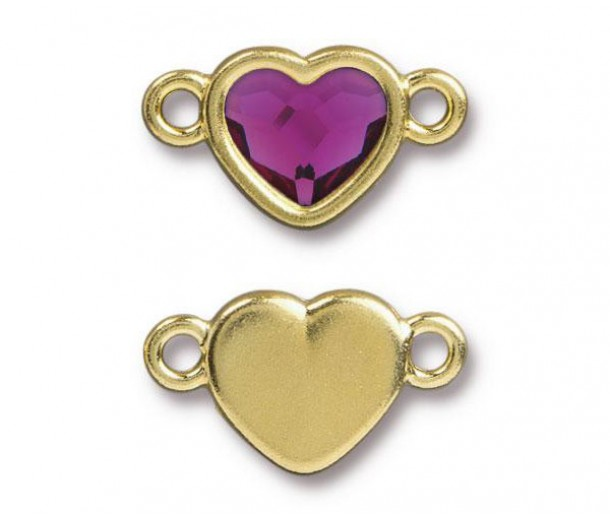 20x11mm Heart Link by Tierracast®, Gold Plated Fuchsia