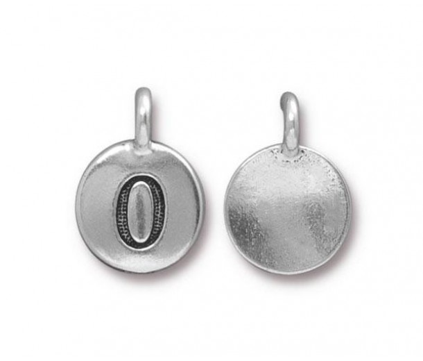 16mm Number 0 Charm by TierraCast, Antique Silver