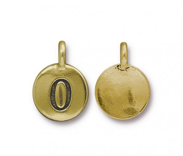 16mm Number 0 Charm by TierraCast, Antique Gold