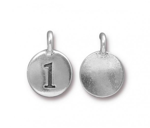 16mm Number 1 Charm by TierraCast, Antique Silver, 1 Piece