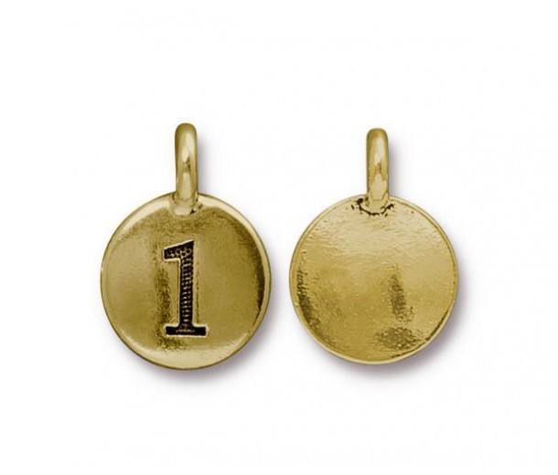 16mm Number 1 Charm by TierraCast, Antique Gold, 1 Piece