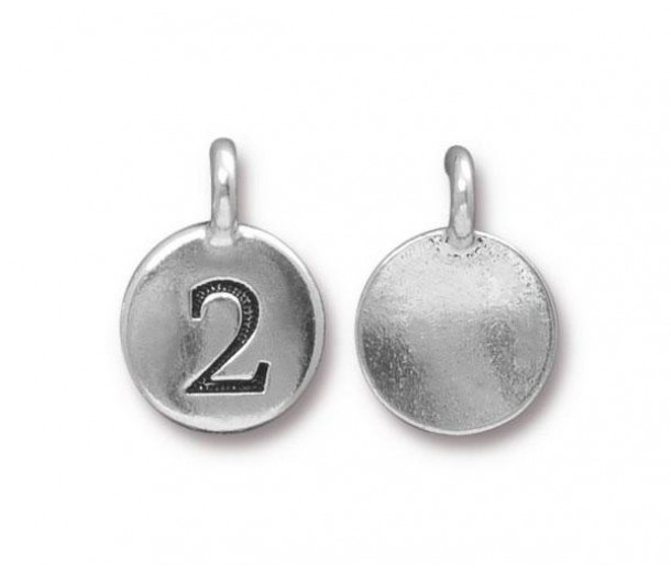 16mm Number 2 Charm by TierraCast, Antique Silver, 1 Piece