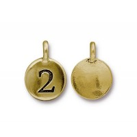 16mm Number 2 Charm by TierraCast, Antique Gold, 1 Piece