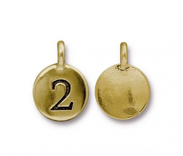 16mm Number 2 Charm by TierraCast, Antique Gold