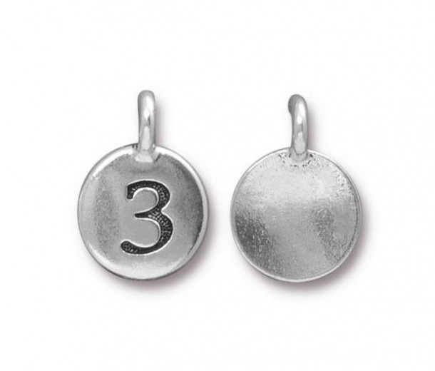 16mm Number 3 Charm by TierraCast, Antique Silver, 1 Piece