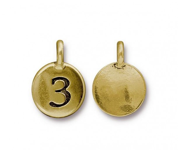 16mm Number 3 Charm by TierraCast, Antique Gold
