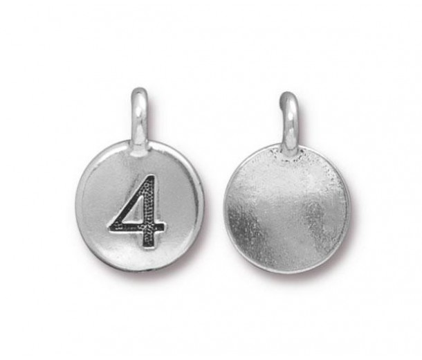 16mm Number 4 Charm by TierraCast, Antique Silver, 1 Piece