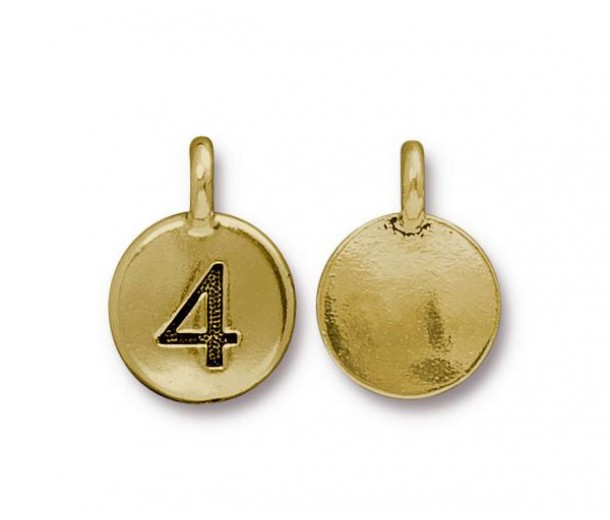 16mm Number 4 Charm by TierraCast, Antique Gold, 1 Piece