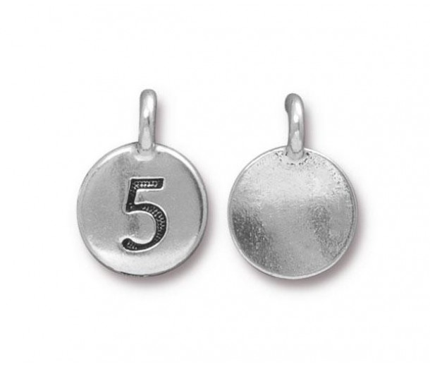 16mm Number 5 Charm by TierraCast, Antique Silver, 1 Piece