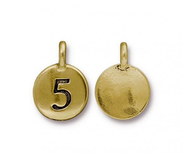 16mm Number 5 Charm by TierraCast, Antique Gold, 1 Piece