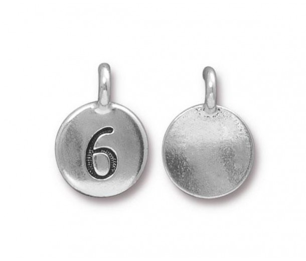 16mm Number 6 Charm by TierraCast, Antique Silver, 1 Piece