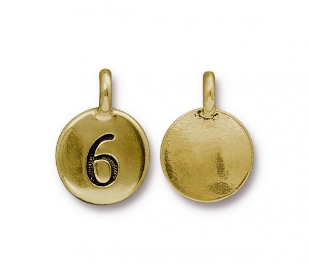 16mm Number 6 Charm by TierraCast, Antique Gold, 1 Piece