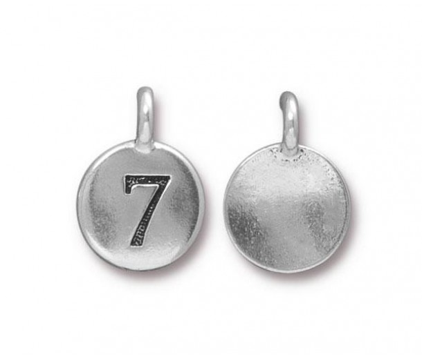 16mm Number 7 Charm by TierraCast, Antique Silver, 1 Piece