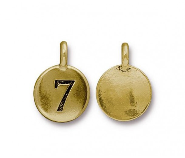 16mm Number 7 Charm by TierraCast, Antique Gold, 1 Piece