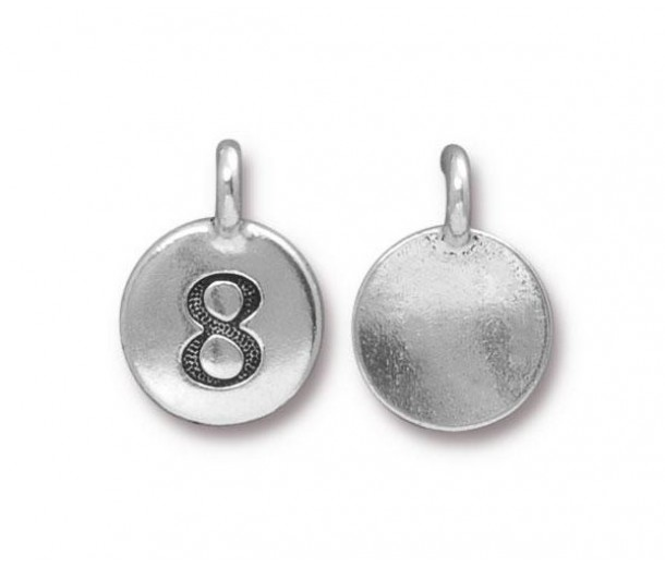 16mm Number 8 Charm by TierraCast, Antique Silver, 1 Piece
