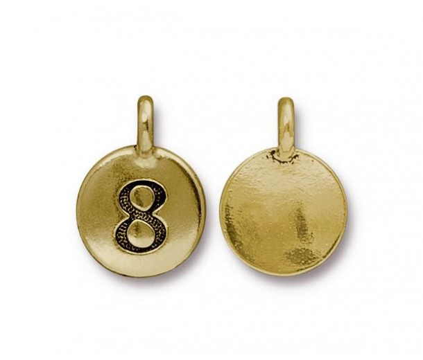 16mm Number 8 Charm by TierraCast, Antique Gold, 1 Piece