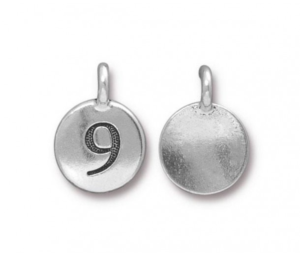 16mm Number 9 Charm by TierraCast, Antique Silver, 1 Piece