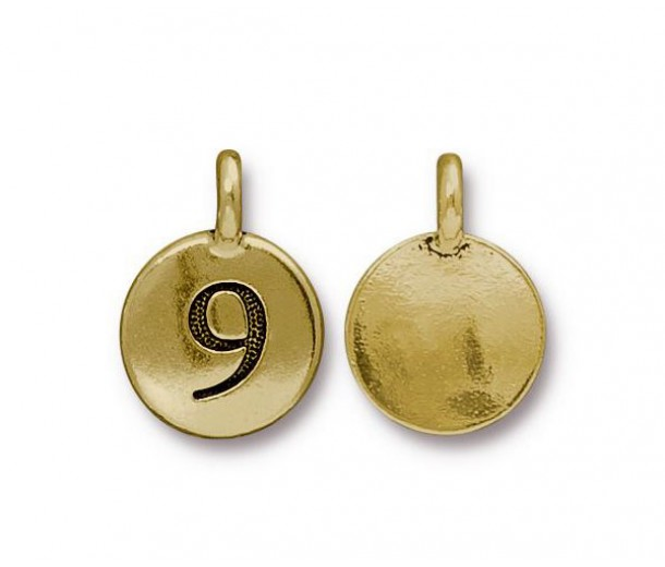 16mm Number 9 Charm by TierraCast, Antique Gold, 1 Piece