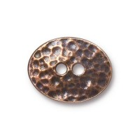 19mm Oval Distressed Button by TierraCast, Antique Copper