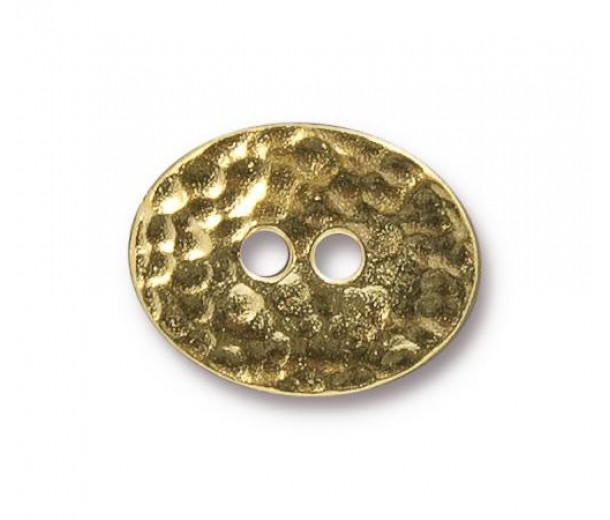 19mm Oval Distressed Button by TierraCast, Bright Gold