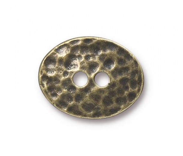19mm Oval Distressed Button by TierraCast, Antique Brass