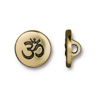 12mm Small Om Button by TierraCast, Antique Gold