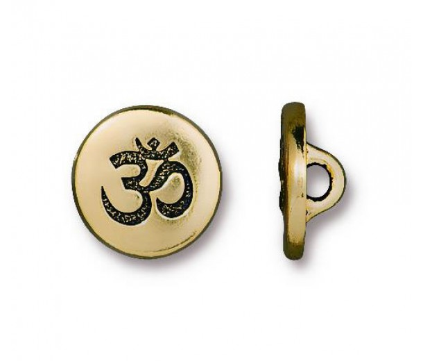 12mm Small Om Button by TierraCast, Antique Gold, 1 Piece