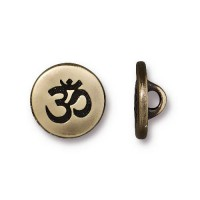 12mm Small Om Button by TierraCast, Antique Brass