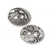 17mm Oval Jardin Button by TierraCast, Antique Pewter, 1 Piece
