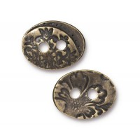17mm Oval Jardin Button by TierraCast, Antique Brass, 1 Piece