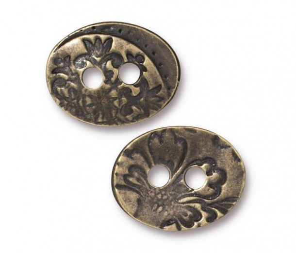 17mm Oval Jardin Button by TierraCast, Antique Brass