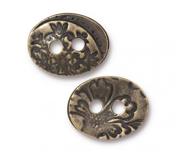 17mm Oval Jardin Button by TierraCast, Antique Brass