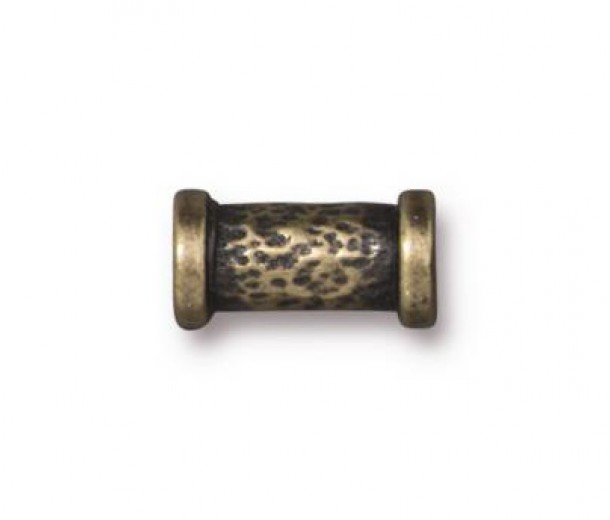 11x5mm Hammered Tube Bead by TierraCast, Antique Brass, 1 Piece
