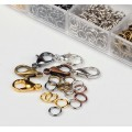 Findings Mix with Organizer, Lobster Clasps and Jump Rings, Assorted Finish