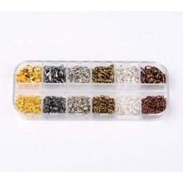 Findings Mix with Organizer, Lobster Clasps and Jump Rings, Assorted