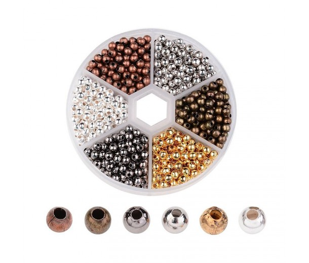 Spacers Mix with Organizer, 4mm Round, Assorted Finish